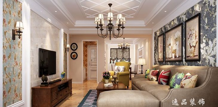 天河理想城361㎡ 三居室户型 美式风格